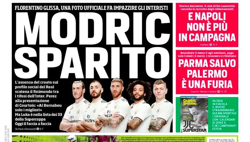 "RASSEGNA – ""Modric sparito, interisti impazziti!"". Milinkovic, Juve o Real. E Ljajic…"