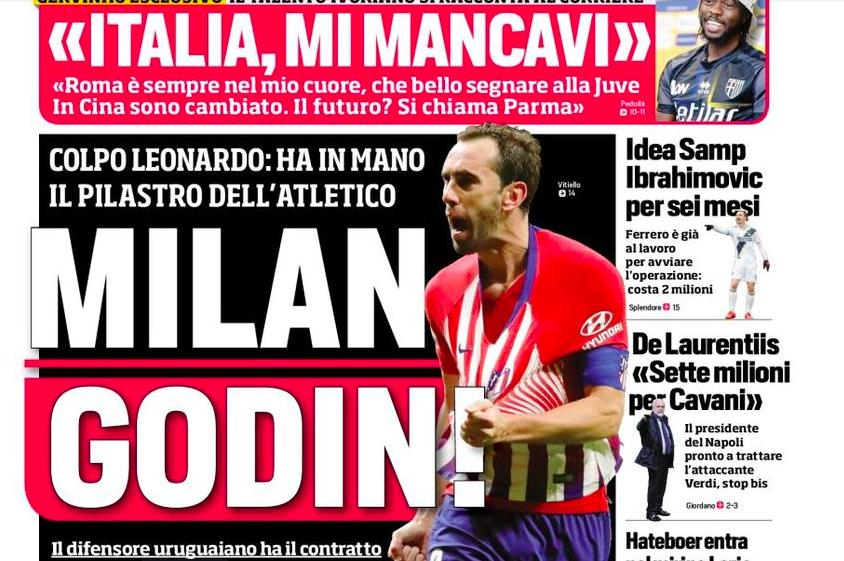 """CorSport in prima pagina: """"Colpo di Leonardo, il Milan ha in pugno Godin"""""""