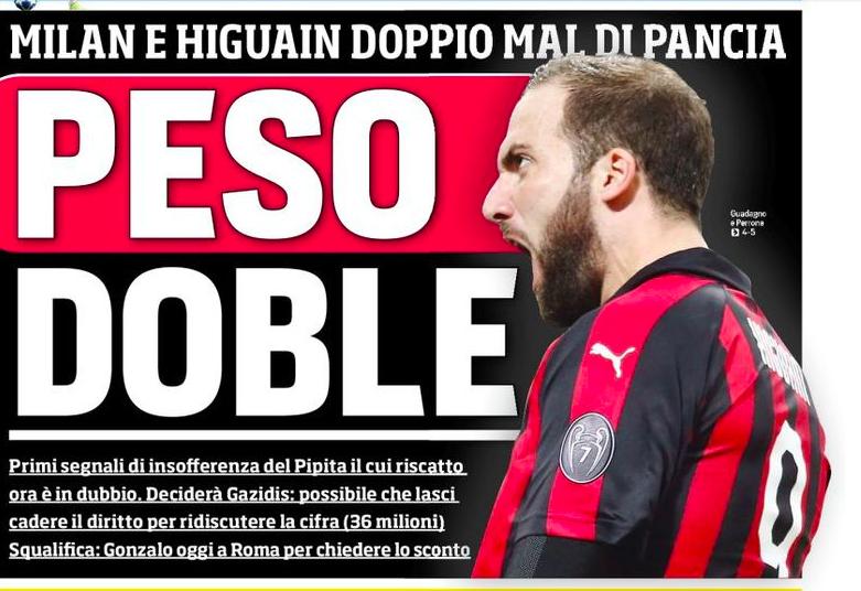 """Higuain, il CorSport in prima: """"Mal di pancia e il riscatto può saltare, torna alla Juve?"""""""