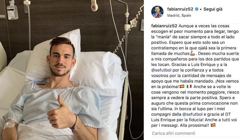 Napoli, la febbre non dà tregua a Fabian Ruiz: è sotto osservazione in ospedale