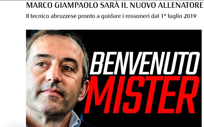 UFFICIALE – Giampaolo è il nuovo allenatore del Milan: ha firmato fino al 2021