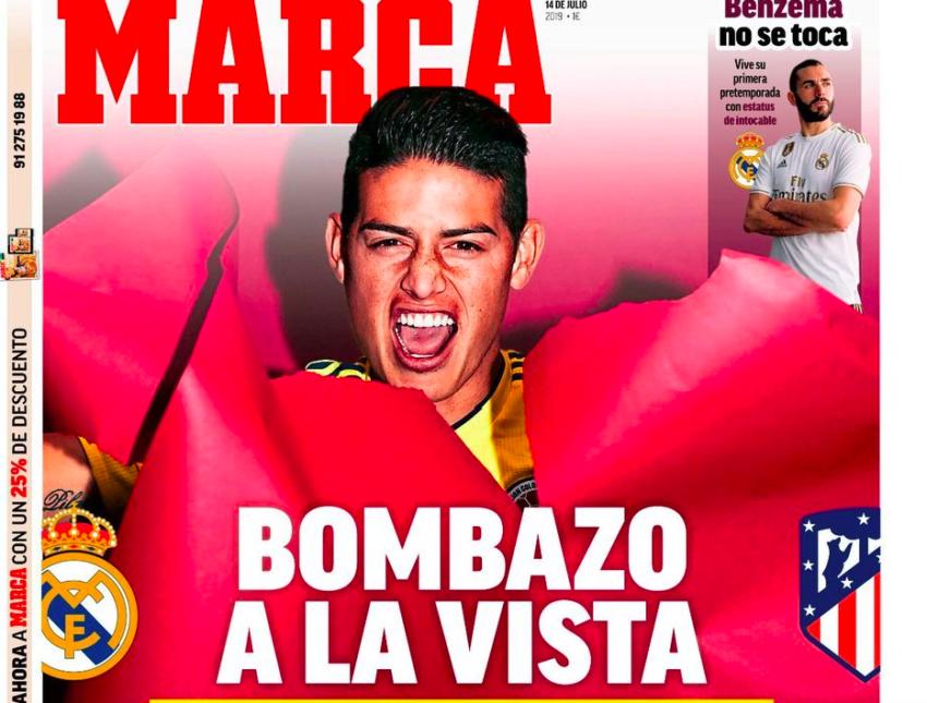 """📸 FOTO – Marca in prima: """"Che bombazo James: l'Atlético fa sul serio! E il Napoli…"""""""