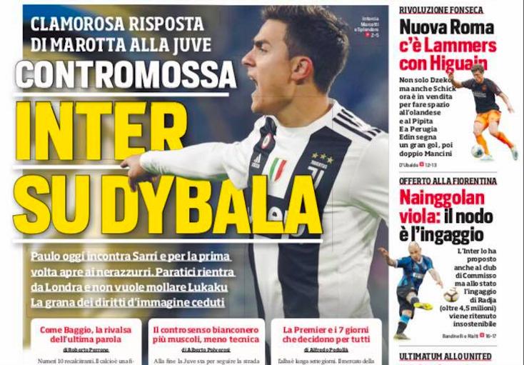 """FOTO – Il Corriere dello Sport in prima pagina: """"Clamoroso, Inter su Dybala!"""""""