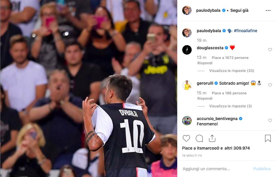 """FOTO – Dybala, l'esultanza e il post che dice tutto: """"Fino alla fine!"""""""