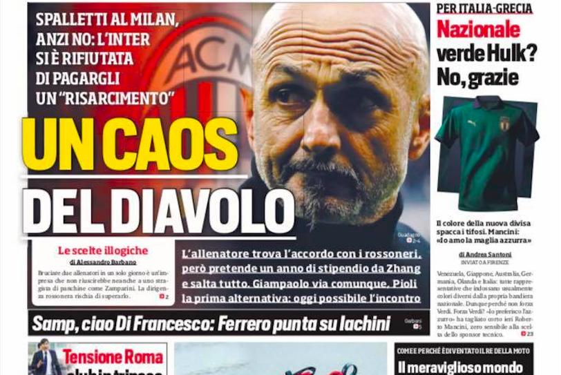 """Il Corsport in prima pagina: """"Spalletti al Milan, l'Inter si rifiuta e salta tutto. Ora…"""""""