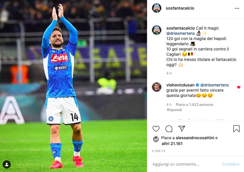 """📸 FOTO – Vlahovic gioca al fanta e scrive a Mertens su SOS: """"Dries, mi hai fatto vincere"""""""