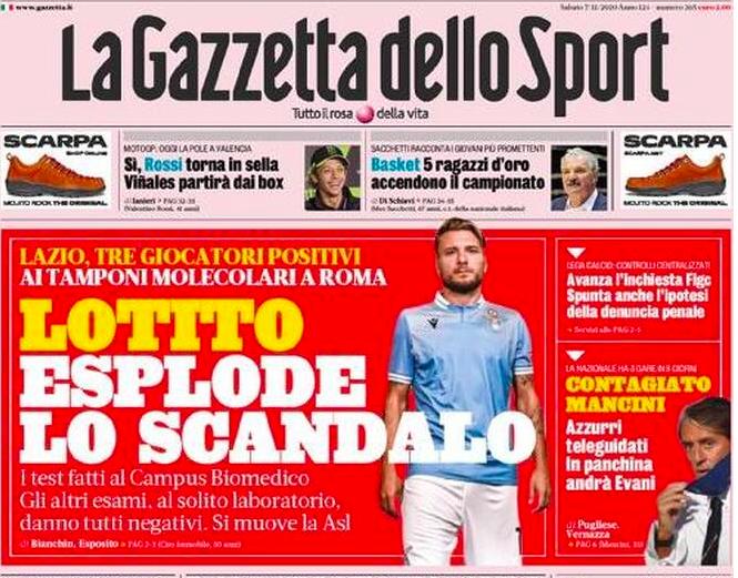 """📸 FOTO – Gazzetta: """"È esploso lo scandalo tamponi Lazio! Spunta la  denuncia penale"""" – SOS Fanta"""