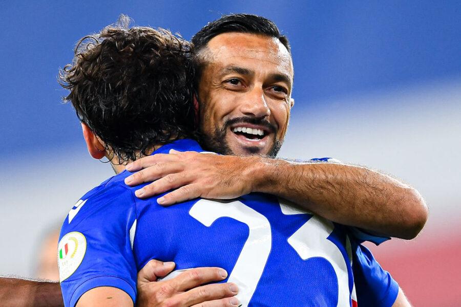 Quagliarella segna di tacco nel 3-2 in Coppa Italia: Gabbiadini-gol, Damsgaard…